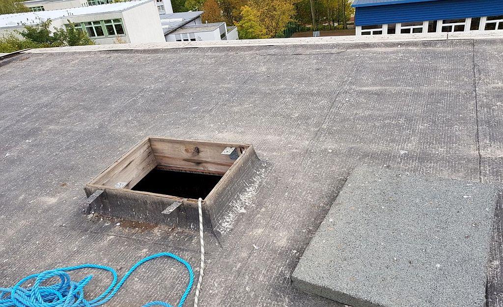 Eingeschlossene Tauben im Dachdrempel WBS 70